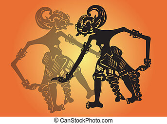 Shadow puppet. - Traditional Asian shadow puppet.
