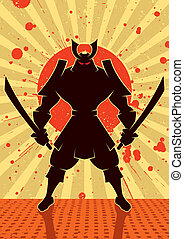 Cartoon illustration of samurai warrior. No transparency and gradients used.