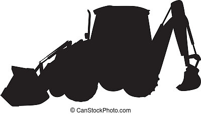 Shadow shovel - vector illustration of the silhouette of a...
