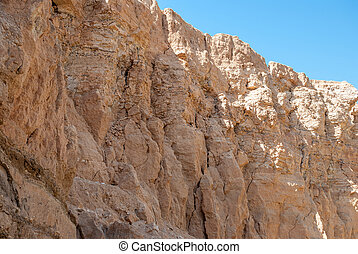 Shadow side of a high mountain in the desert