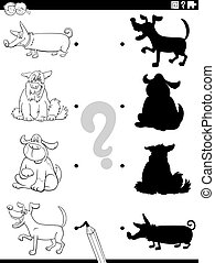 shadow task with cartoon dogs coloring book page - Black and...
