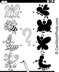Black and White Cartoon Illustration of Match the Right Shadows with Pictures Educational Task for Kids with Insect Characters Coloring Book Page
