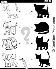 shadow task with funny cats coloring book page - Black and ...