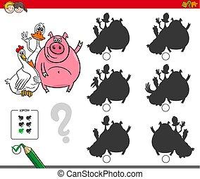 shadows activity game with cute farm animals
