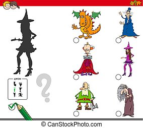 shadows activity game with fairy tale characters