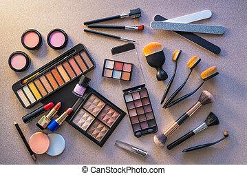 shadows, alkat, szem, kozmetikum, ajakrúzs