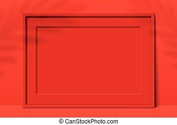 shadows., cornice, foglia, fondo, rosso