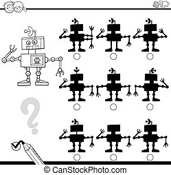 shadows differences with droid - Black and White Cartoon...