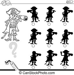 shadows differences with pirate - Black and White Cartoon...