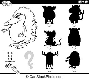 Black and White Cartoon Illustration of Finding the Right Shadow to the Picture Educational Game for Children with Wild Animal Characters Coloring Book Page