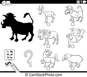 Black and White Cartoon Illustration of Finding the Right Picture to the Shadow Educational Game for Children with Wild Animal Characters Coloring Book Page
