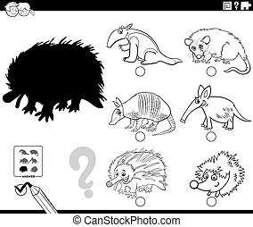 Black and White Cartoon Illustration of Finding the Right Picture to the Shadow Educational Task for Children with Wild Animal Characters Coloring Book Page