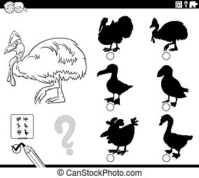 shadows game with cassowary character coloring book page - ...