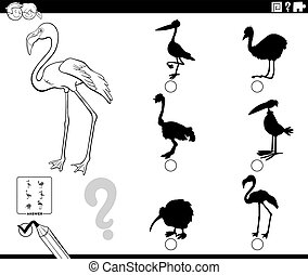 Black and White Cartoon Illustration of Finding the Right Shadow to the Picture Educational Game for Children with Flamingo Bird Animal Character Coloring Book Page