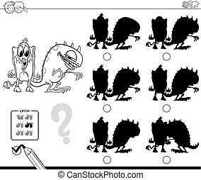 shadows game with monsters color book - Black and White...