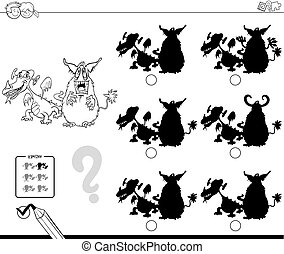 shadows game with monsters coloring book - Black and White...