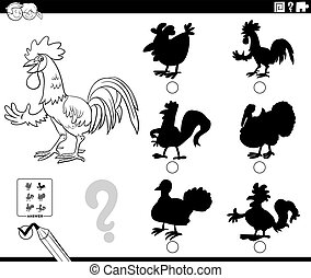 Black and White Cartoon Illustration of Finding the Right Shadow to the Picture Educational Game for Children with Rooster Farm Animal Character Coloring Book Page