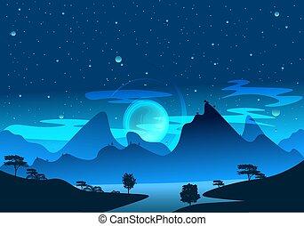 shadows., magie, art, lumière, morning., levers de soleil, lac bleu, brume, montagne, ciel, paysage, nature, fantasme, entiers, brouillard, illustration, étoilé