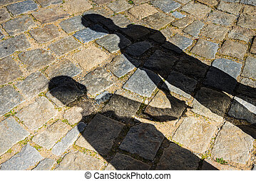 Shadows of a two children