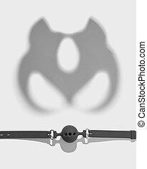 Shadows of cat mask and ball gag. - set - ball gag with ...