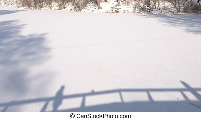 Shadows of couple on snow. Silhouettes of people, winter....