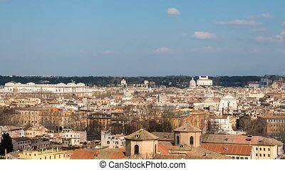 Shadows on the roofs of Rome, Italy. TimeLapse