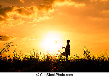Shadows play football at sunset, Yellow tone