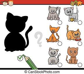 shadows task for kids - Cartoon Illustration of Educational...