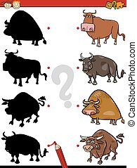 Cartoon Illustration of Education Shadow Test for Preschool Children with Bulls Farm Animal Characters
