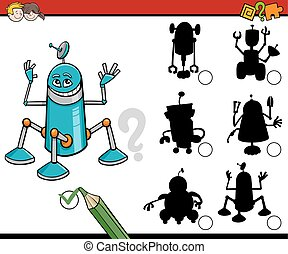 shadows task with robots - Cartoon Illustration of Find the...