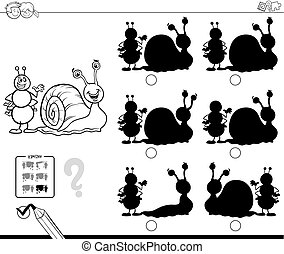 shadows with ant and snail coloring book - Black and White...