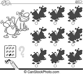 shadows with funny dogs coloring book - Black and White...