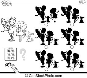 shadows with kids and dogs coloring book - Black and White...