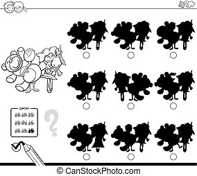 shadows with kids and toys coloring book - Black and White...