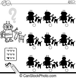 shadows with robots coloring book - Black and White Cartoon...