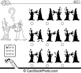 shadows with wizards coloring book - Black and White Cartoon...