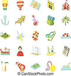 Shady enterprise icons set, cartoon style - Shady enterprise...