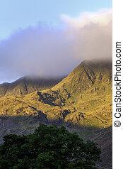 Shaft of sunlight on a mountain range