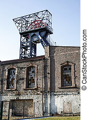 shaft, old building of former coal mine in Katowice, Poland