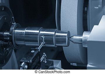 shaft., precisión, molienda, hola, concept., fabricación, máquina, cilíndrico, acero