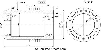 Shaft sketch. Engineering drawing with hatching
