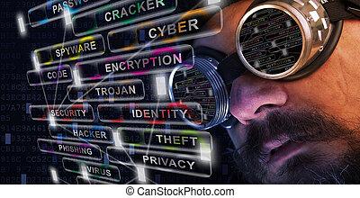 shag, baard, en, mustache, man, studeren, cyber, veiligheid