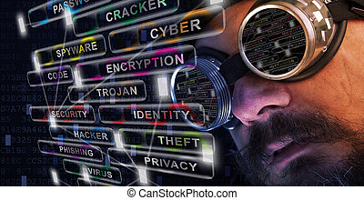 Shag beard and mustache man with goggles study cyber security related issues
