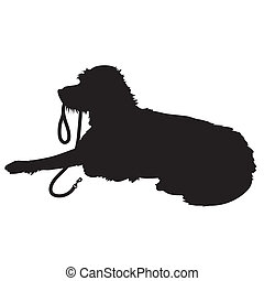 Shaggy Dog Silhouette - A black silhouette of a shaggy dog ...