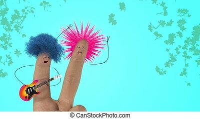 Shaggy hair finger guitar man sing fun rock love song to finger women. Valentines day joke. Punk blue color version.