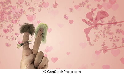 Shaggy hair finger man sing love song. Valentines day joke...