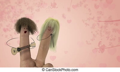 Shaggy hair finger guitar man sing fun romantic love song to finger women. Valentines day joke.