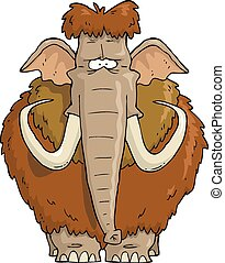 Shaggy Mammoth on a white background vector illustration