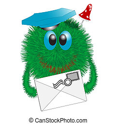 Shaggy Postman - Green shaggy postman with letter in service...