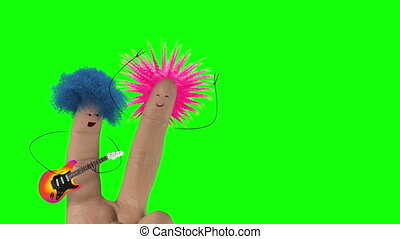 Shaggy punk hair finger man sing love song. Valentines day joke. Isolate.